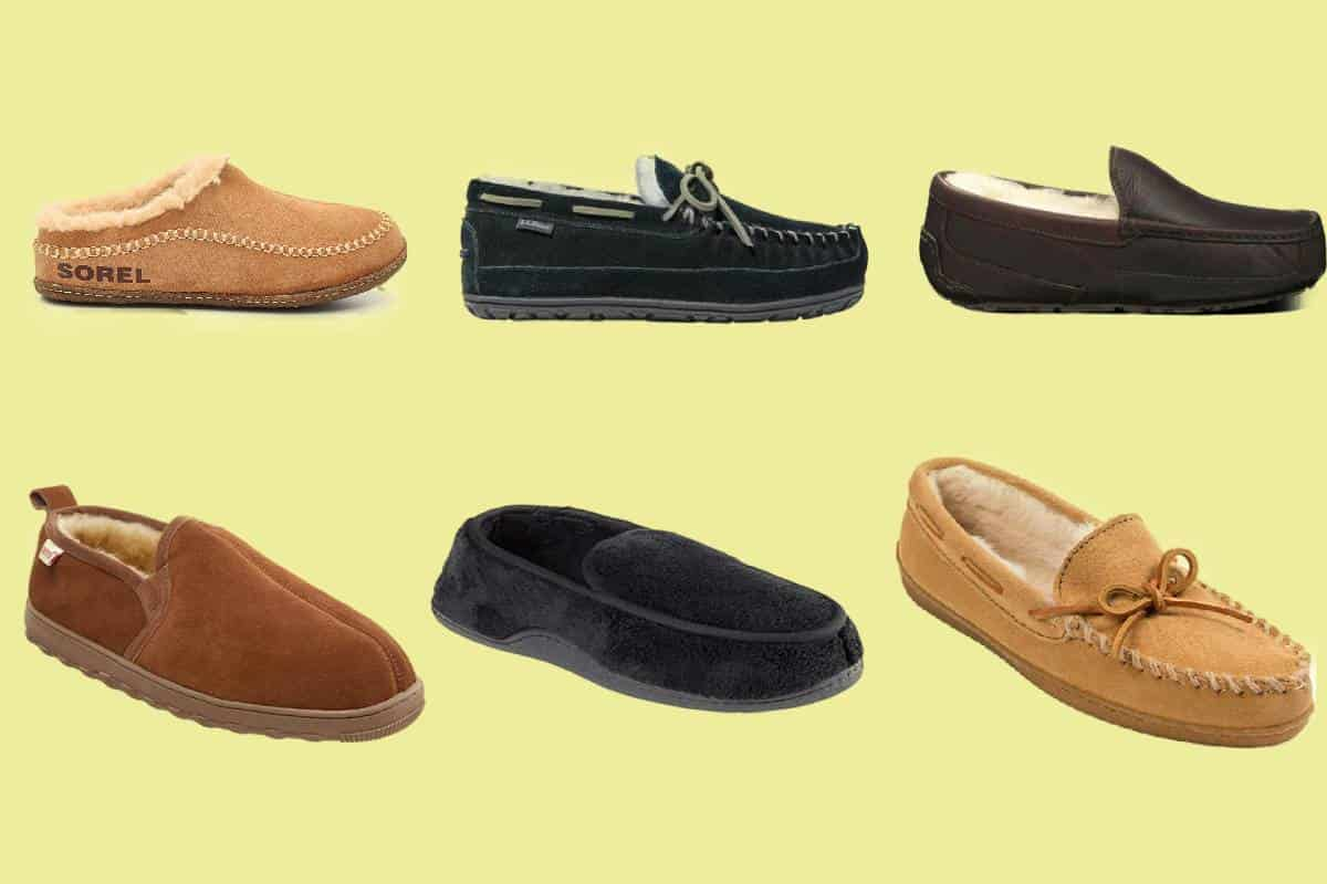 Six examples of the most comfortable men's slippers in various designs with plush lining