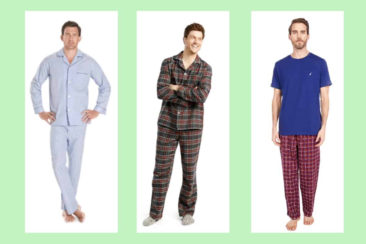 Three models wearing some of the most comfortable men's pajamas