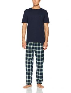 Nautica Men's Short Sleeve Top and Soft Flannel Pajama Pant Set