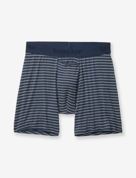 Blue striped men's soft boxer briefs