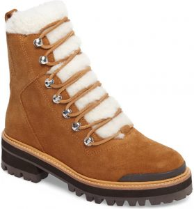 Marc Fisher Izzie Genuine Shearling Lace-Up Boot