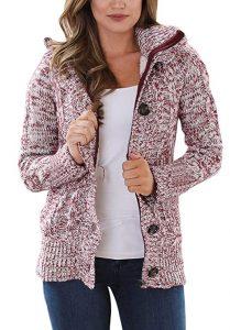 Sidefeel Women Hooded Knit Cardigan Sweater Coat