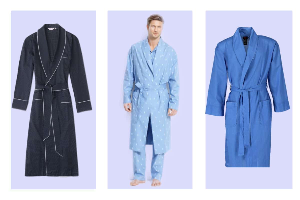 Three of the most comfortable men's lightweight robes in light, mid and dark blue