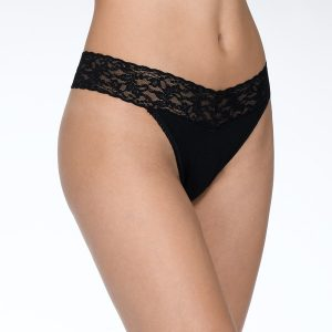 Hanky Panky- Organic Cotton Original Rise Thong with Lace