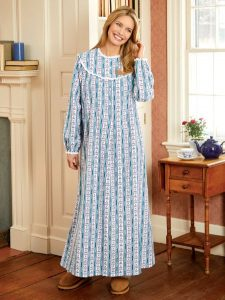 Lanz Tyrolean Round-Neck Flannel Nightgown