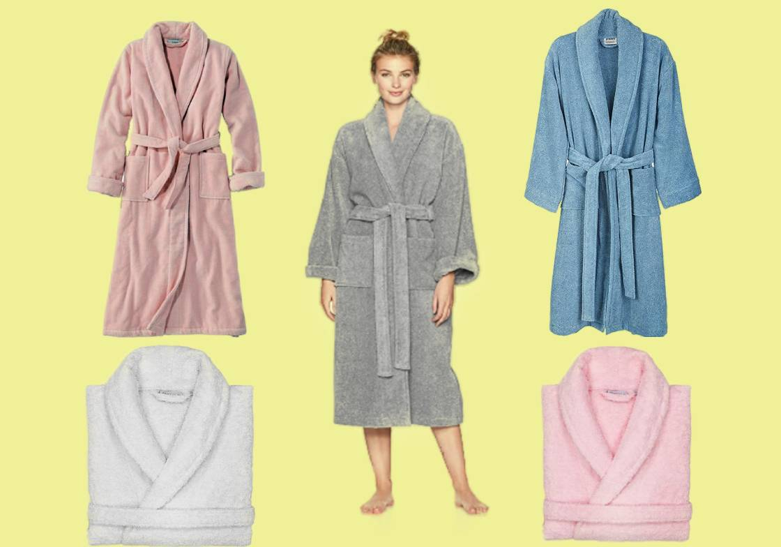 Five of the most comfortable terry cloth robes for women in gray, pink, blue and white