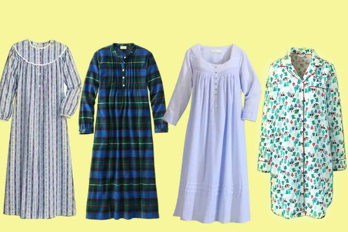 Four of the most comfortable women's flannel nightgowns. Three with patterns one plain light blue.