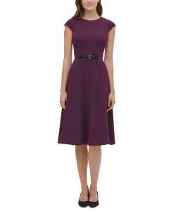 Tommy Hilfiger Belted Fit & Flare Midi Dress