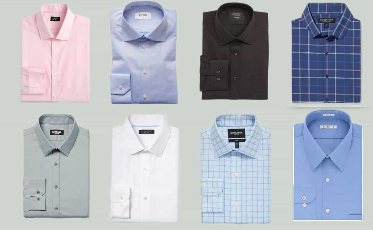 Eight of the most comfortable men's dress shirts in blue, pink, black, white and gray.