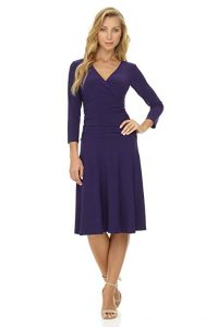 Rekucci Women's Slimming 3/4 Sleeve Fit-and-Flare Crossover Dress
