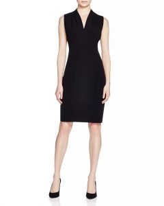 Tahari Tonya Pleat-Shoulder Dress