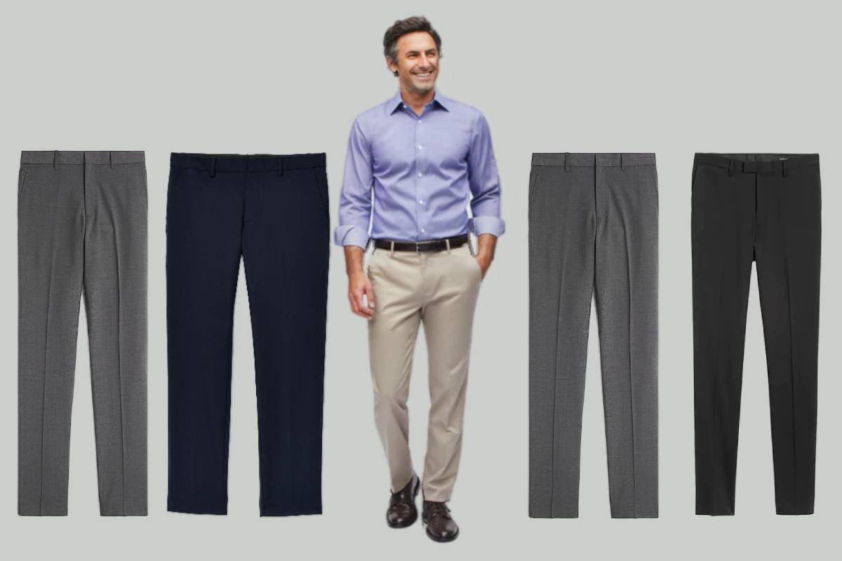 Four examples of the most comfortable men's dress pant with model wearing one example of comfy dress pant in the center