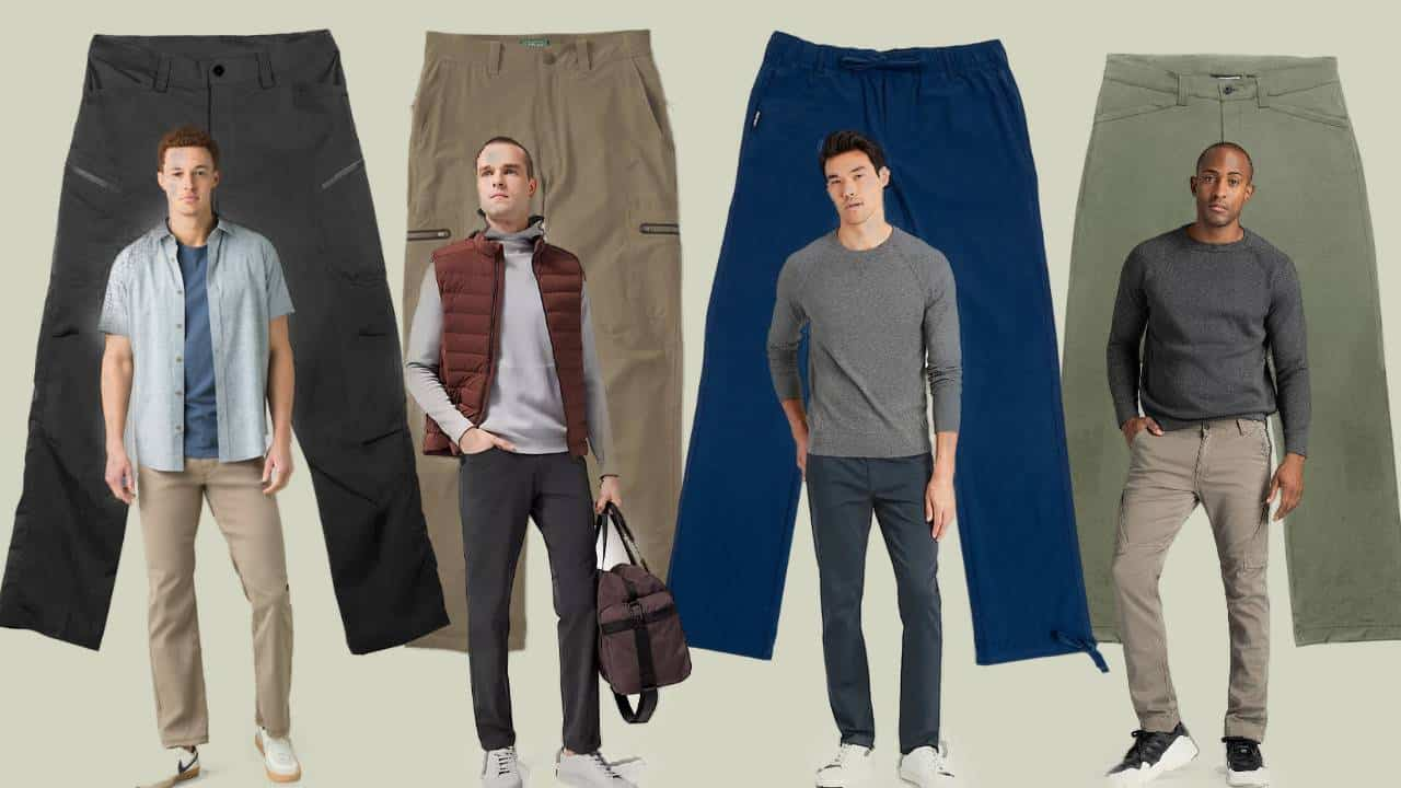 Four model wearing the best travel pants for men