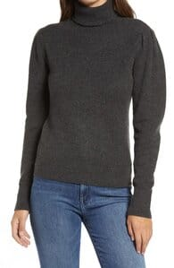 Rachell Parcell Puff Shoulder Turtleneck Sweater