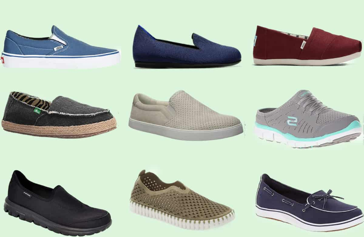 Nine examples of the most comfortable slip on shoes for women in various colors and designs