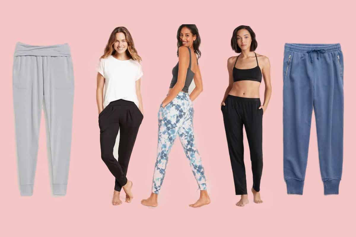 Three models wearing the most comfortable lounge pants for women
