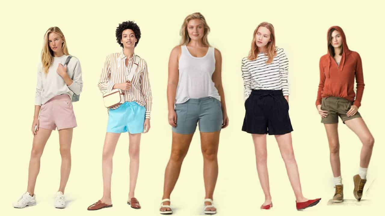 Five models wearing the most comfortable shorts for women
