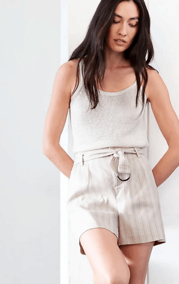 Muted color linen shorts