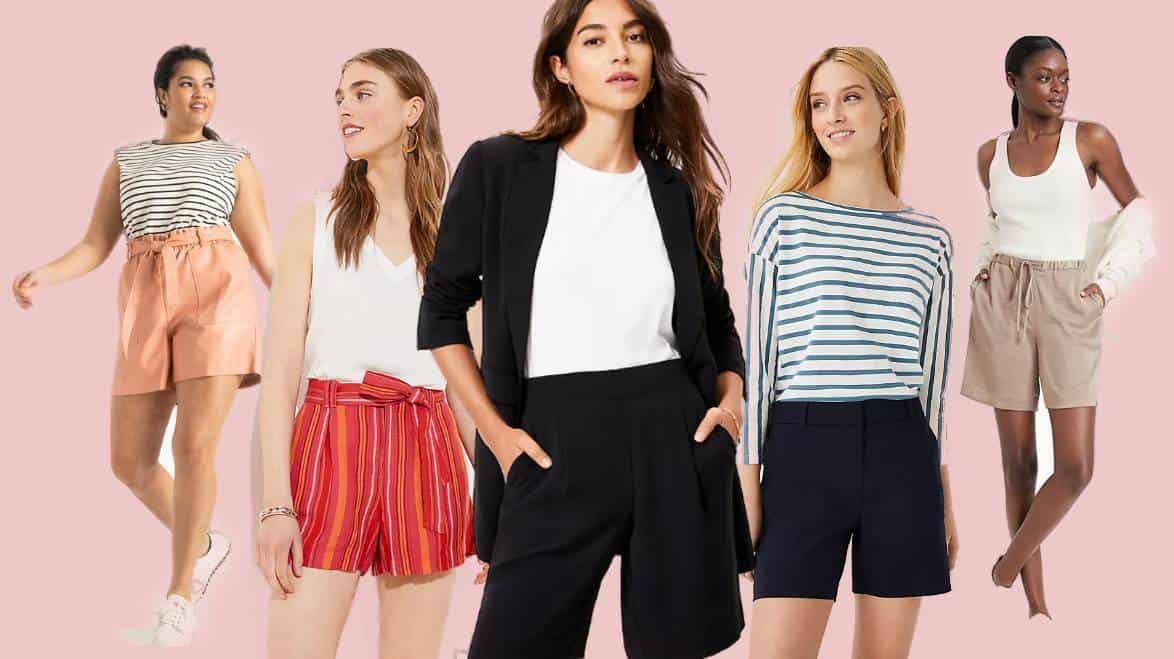 Five models wearing the best women's dress shorts