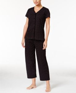Charter Club Short Sleeve Top and Cropped Pant Cotton Pajama