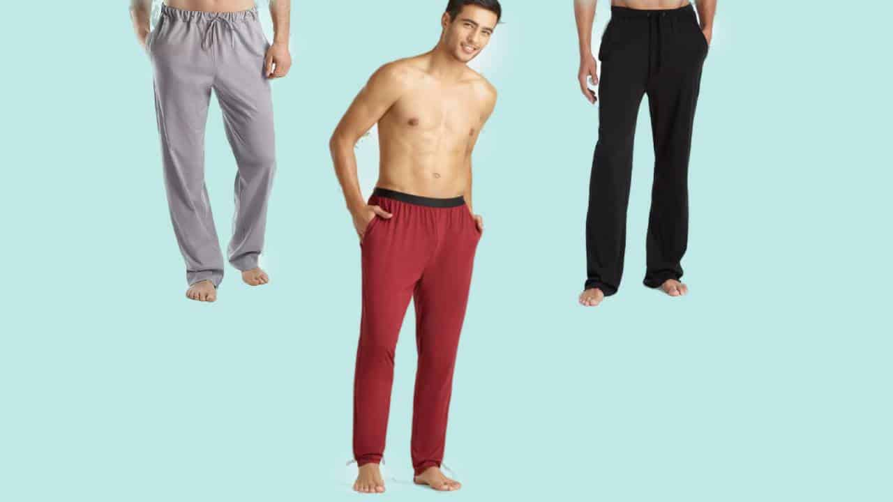 Three examples of the most comfortable lounge pants for men, one gray, one red, and one black.