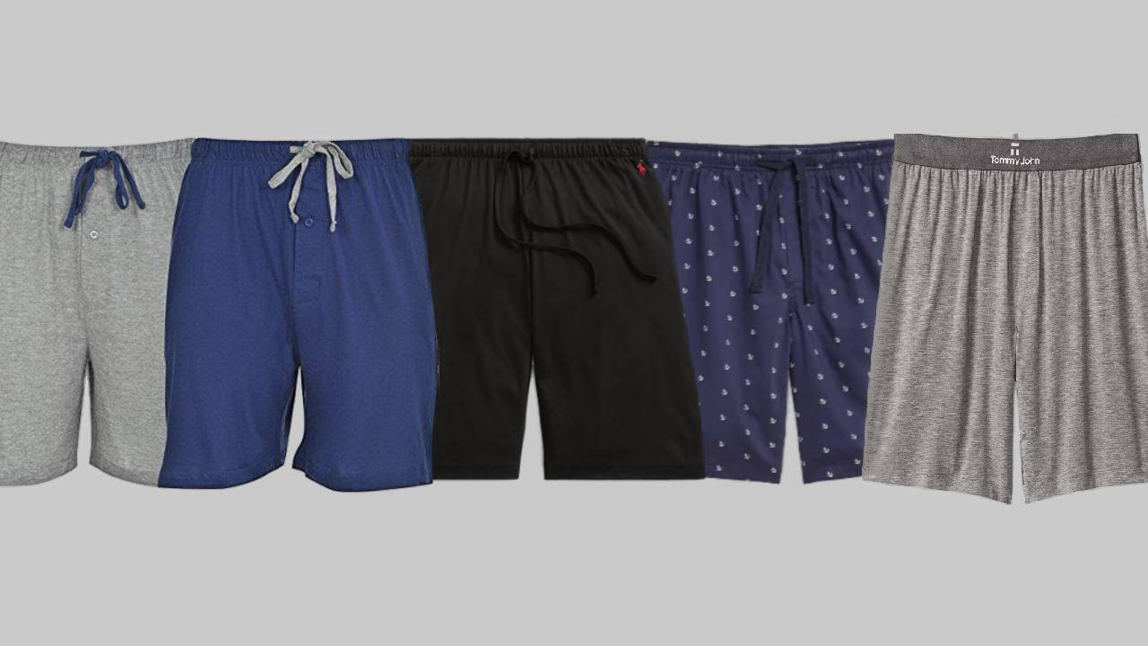 Five of the most comfortable men's lounge shorts in gray, blue and black.