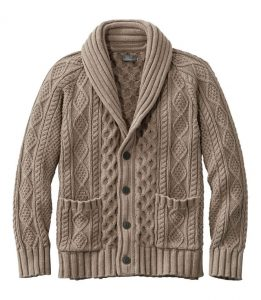 L.L. Bean Signature Cotton Fisherman Shawl Cardigan