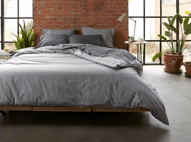 Brooklinen percale sheets in gray
