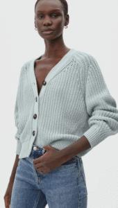 Mint color crop cardigan