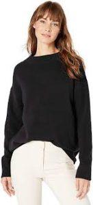 Lark & Ro Women's Boucle Mock Neck Oversized Sweater