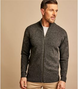 Woolovers Mens Lambswool Lincoln Zipper Cardigan
