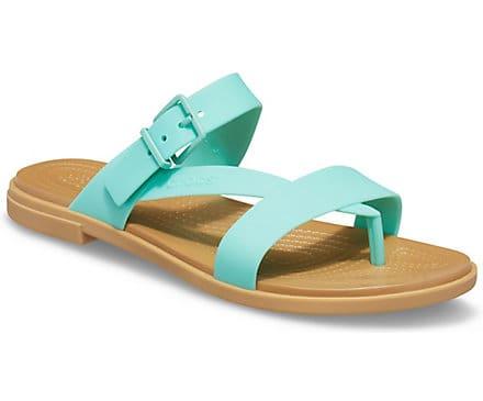 Green strappy croc sandals