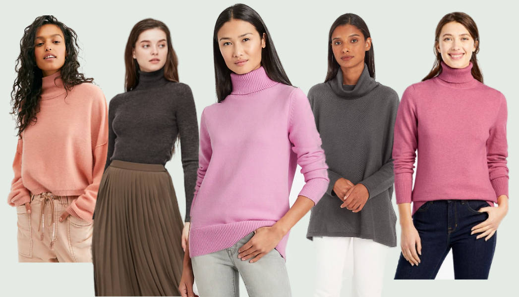 Five models wearing the most comfortable women's turtleneck sweaters