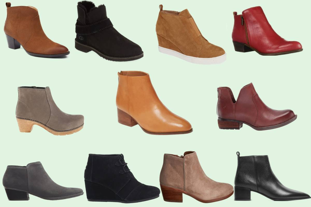 Eleven of the most comfortable women's ankle booties in various shades of brown, gray, and black