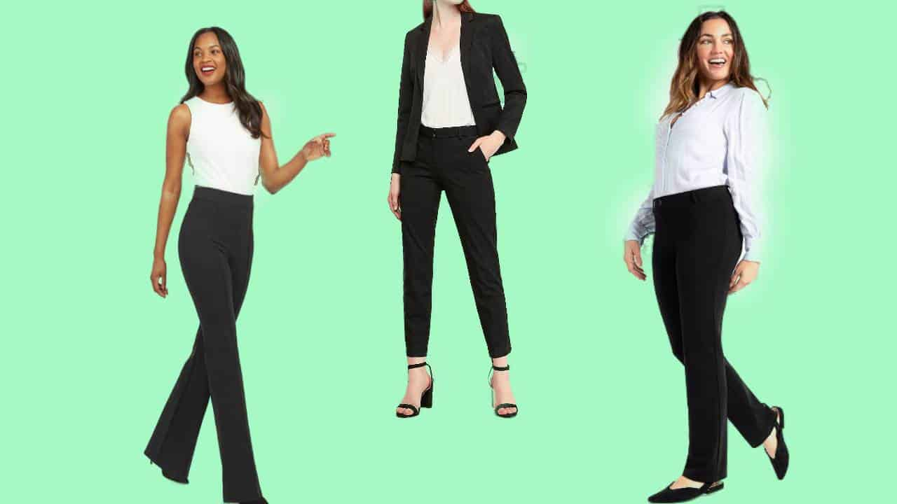 Three of the most comfortable women's dress pants all in black.