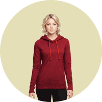 Woman wearing red hoodie