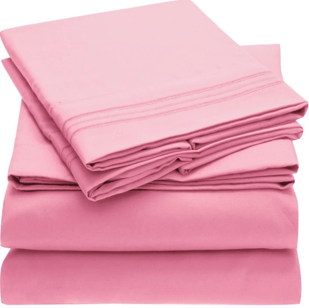 Tidy pile of pink sheets