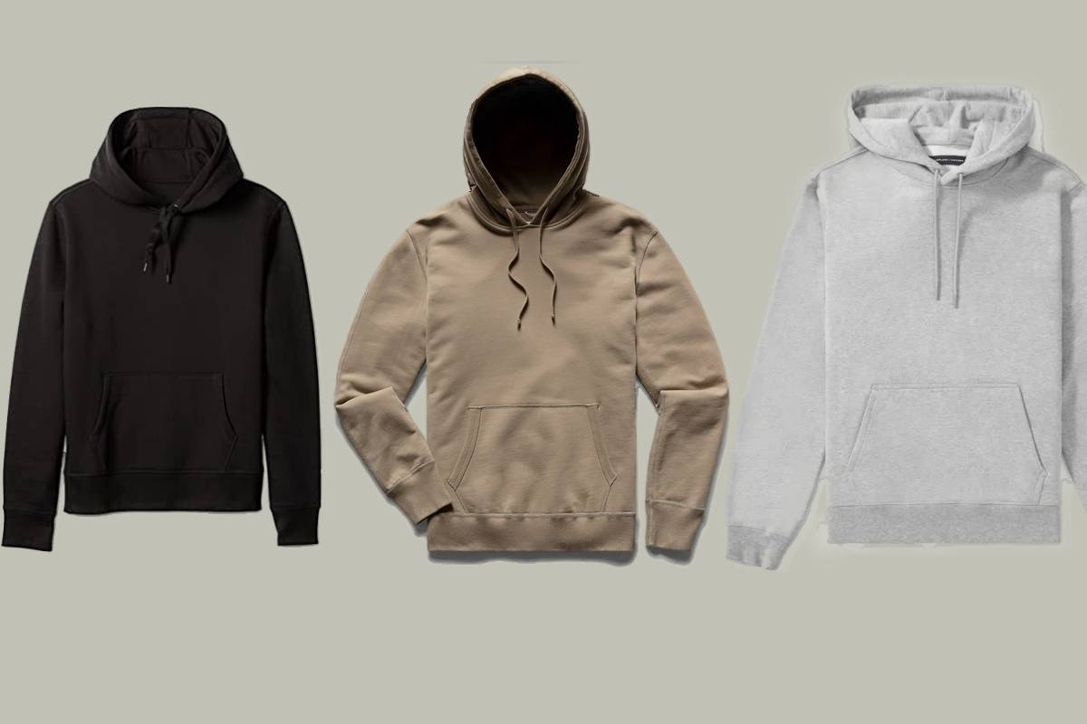 Three of the most comfortable men's hoodies one black, one brown, and one gray.