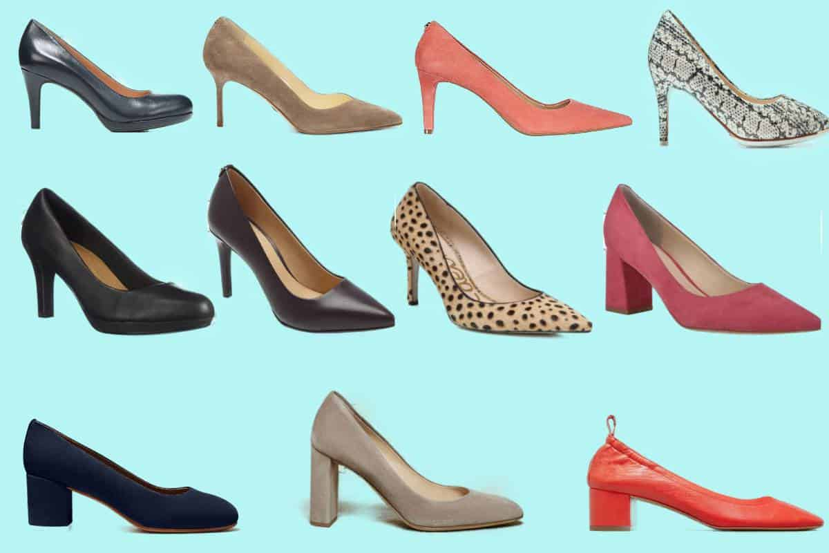 Eleven of the most comfortable heels for women in various colors, textures and patterns.