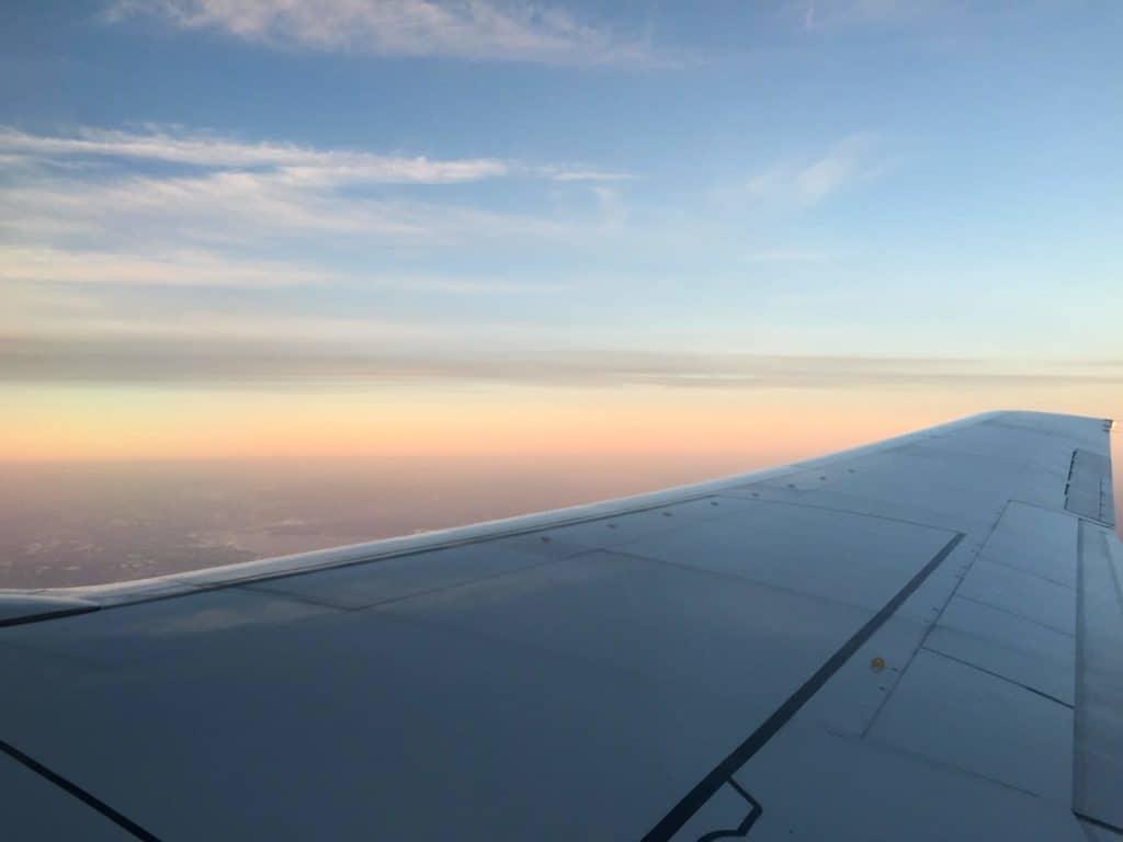 View of horizon from plane window
