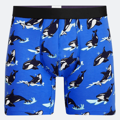 Blue Whale Pattern Boxer Briefs