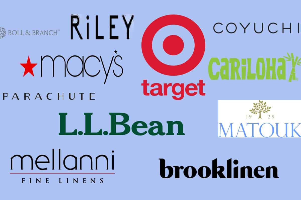 Logo's of the most comfortable bedding brands scattered with a blue background.
