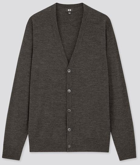 Uniqlo Men Extra Fine Merino V-neck Long-sleeve Cardigan