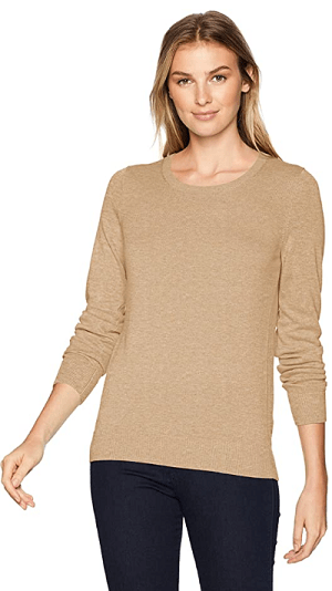 The Amazon Essentials Women's Lightweight Crewneck in sand color