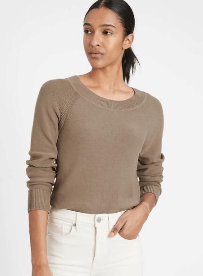 Banana Republic Organic Cotton Scoop-Neck Sweater