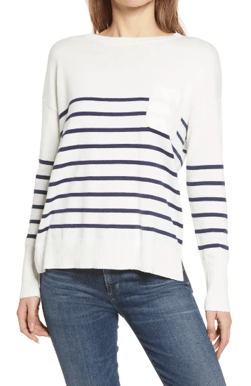 White and blue striped Calson Crewneck Pocket Sweater