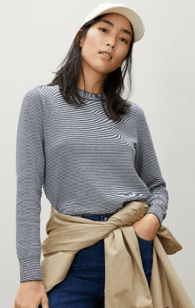 Striped Everlane The Organic Cotton Crewneck Sweater