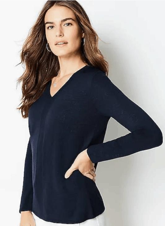 J. Jill Arbor V-Neck Sweater in navy