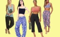 Four women wearing the best loose fitting yoga pants