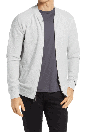 Textured Zip-Front Cotton & Cashmere Cardigan